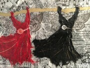 Red and Black Fairy Dresses Go Dancing, SOLD