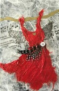 Red Butterfly Fairy Dress with Polka Dot Feather, SOLD
